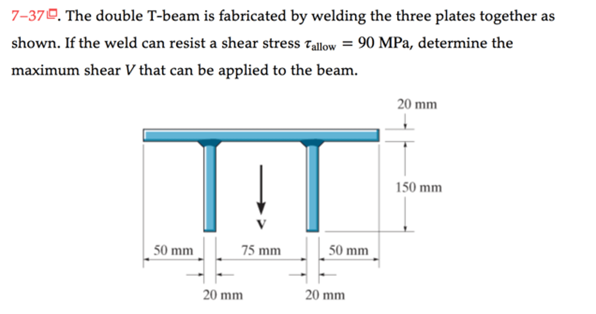 Solved: The Double T-beam Is Fabricated By Welding The Thr