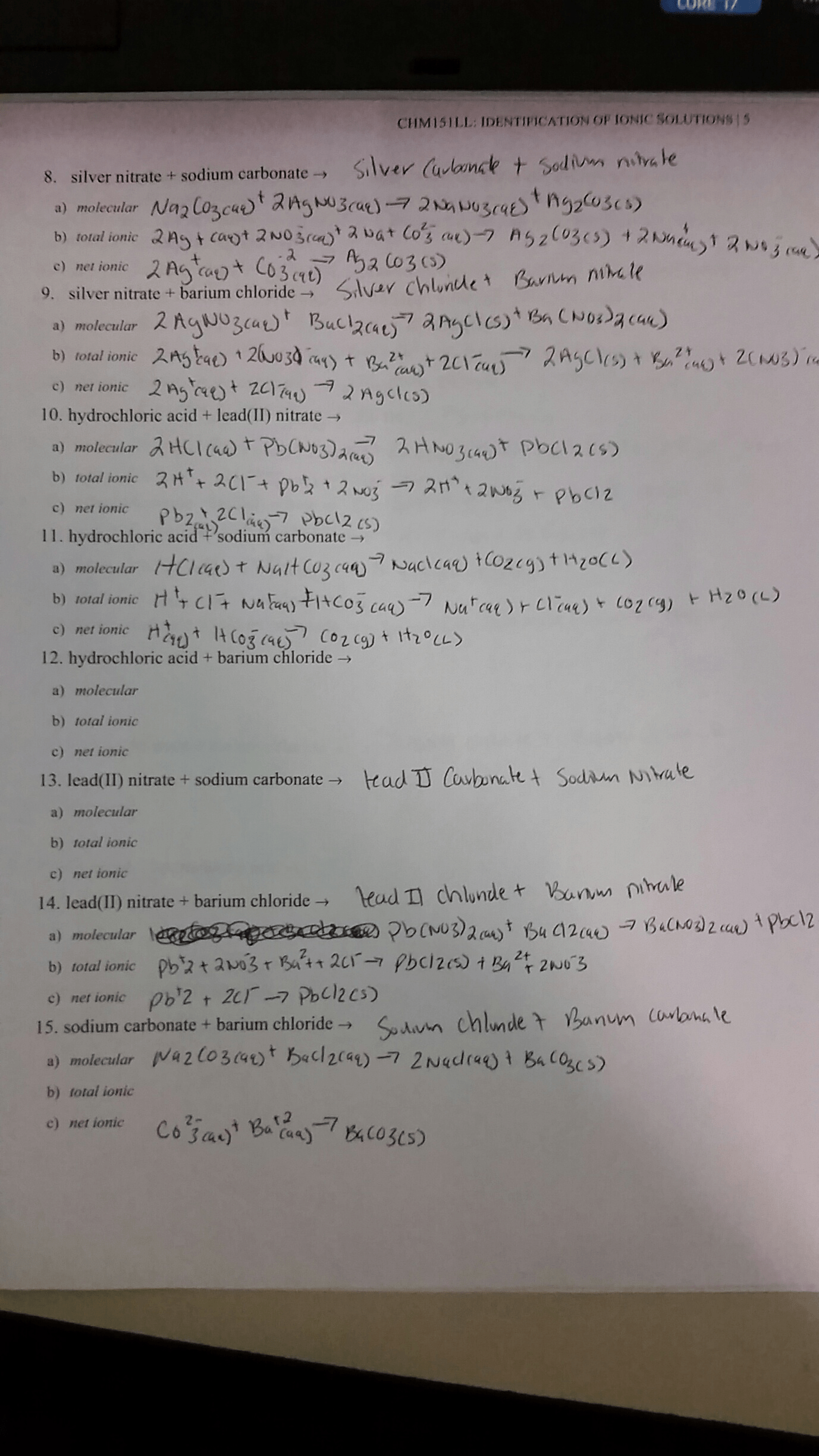 Solved Complete The Following Word Equations And Write B