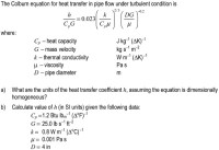 Solved: The Colburn Equation For Heat Transfer In Pipe Flo ...