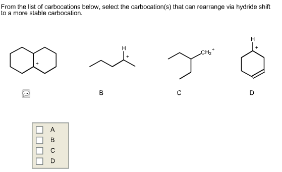 Solved: From The List Of Carbocations Below, Select The Ca