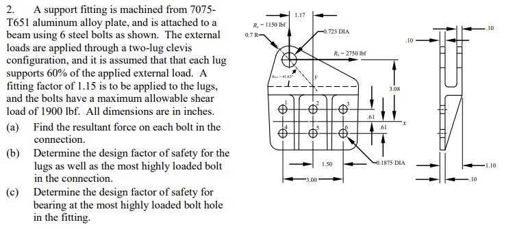 Solved: A Support Fitting Is Machined From 7075- T651 Alum