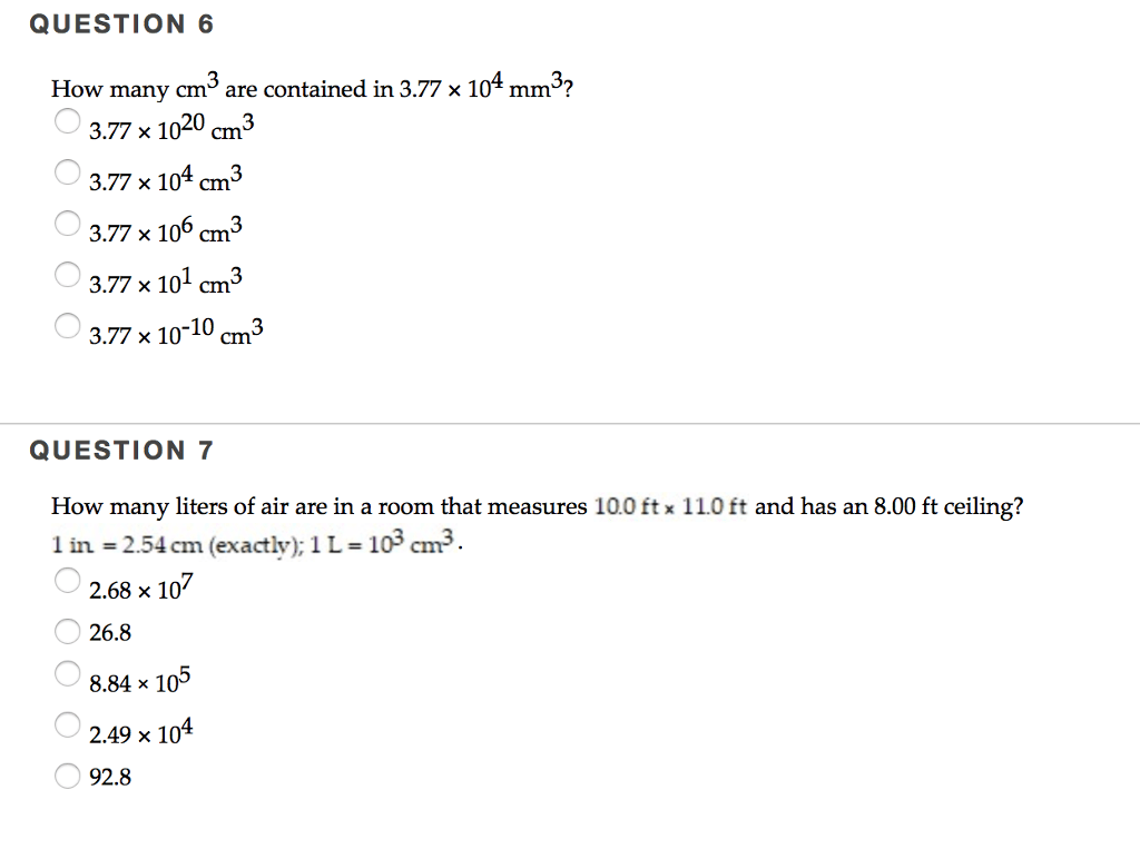 Solved: How Many Cm^3 Are Contained In 3.77 Times 10^4 Mm^...   Chegg.com