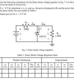 perform the following calculations for the zener diode voltage regulator in fig  [ 1024 x 882 Pixel ]