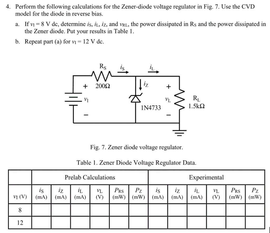 hight resolution of perform the following calculations for the zener diode voltage regulator in fig
