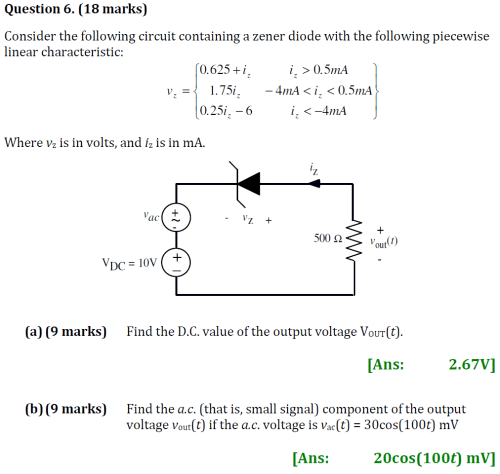 small resolution of  18 marks consider the following circuit containing a zener diode with