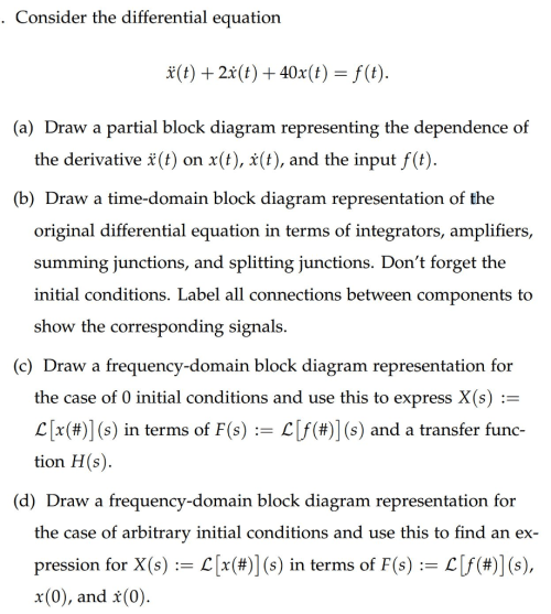 small resolution of consider the differential equation a draw a partial block diagram representing the dependence of