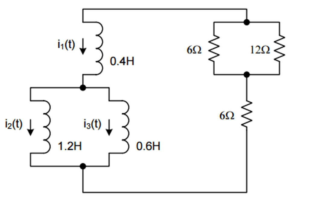 Solved: In The Circuit Below, I1(0) = 2A, I2(0) = 1A, And