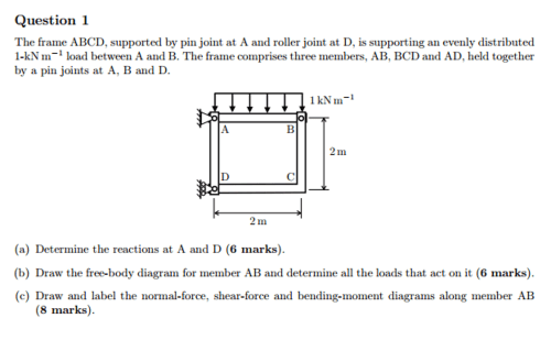 small resolution of the frame abcd supported by pin joint at a and ro
