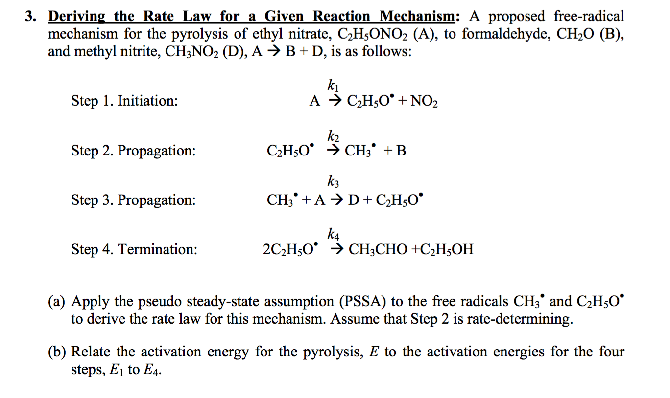 Solved 3 Deriving The Rate Law For A Given Reaction Mech