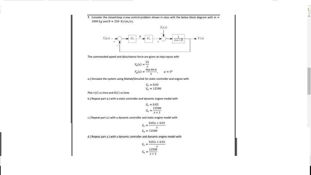 medium resolution of consider the closed loop cruise control problem sh
