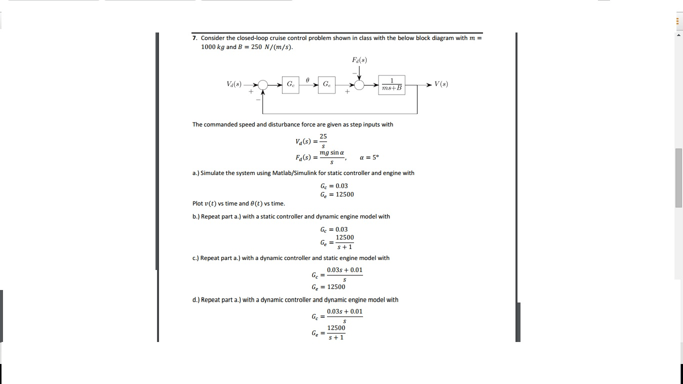 hight resolution of consider the closed loop cruise control problem sh