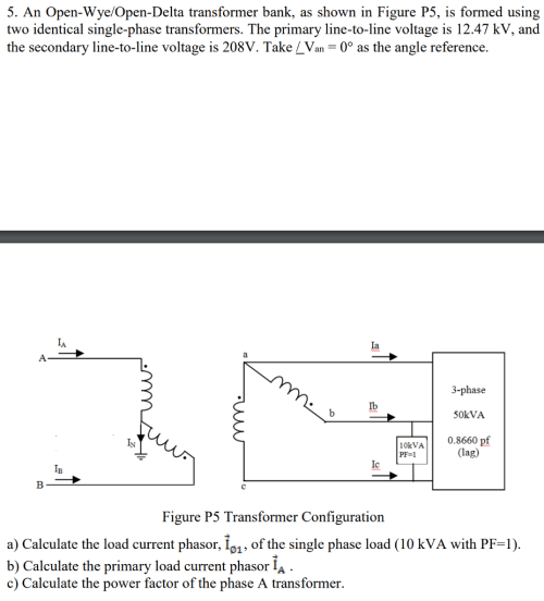 small resolution of solved 5 an open wye open delta transformer bank as shoan open wye open delta