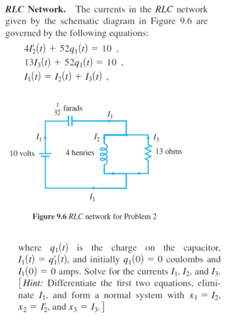 small resolution of question the currents in the rlc network given by the schematic diagram in figure 9 6 are governed by the following equations 4i 2 52 q 1 t 0 13