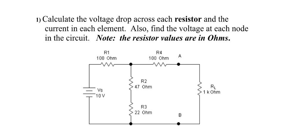 Solved Calculate The Voltage Drop Across Each Resistor An