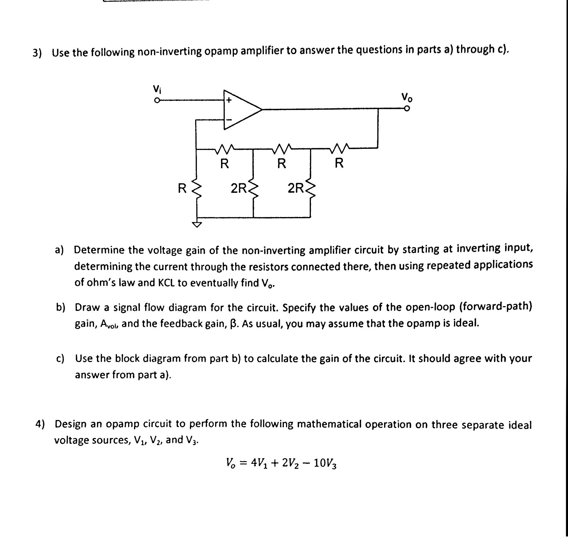 hight resolution of question 3 use the following non inverting opamp amplifier to answer the questions in parts a through c a determine the voltage gain of the