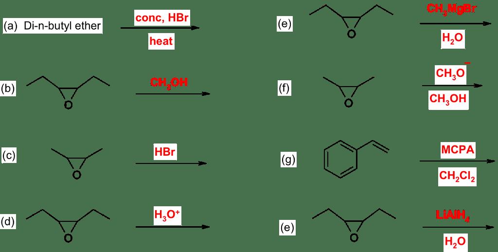 Solved: CH,MgBr Conc, HBr (a) Di-n-butyl Ether Heat CH3o C