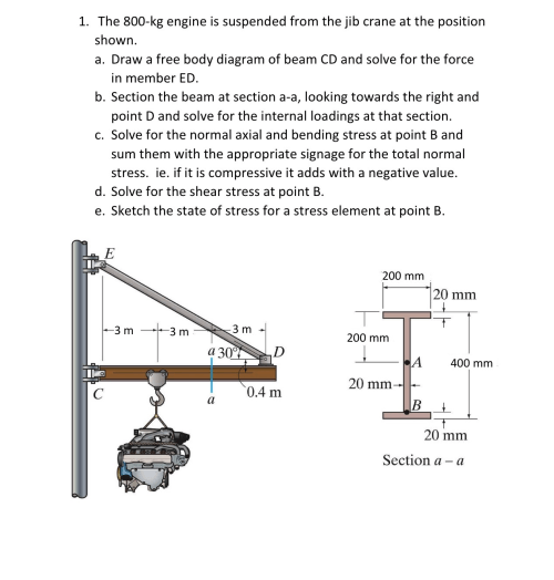 small resolution of the 800 kg engine is suspended from the jib crane