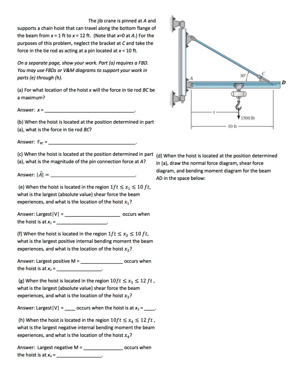 medium resolution of image for the jib crane is pinned at a and supports a chain hoist that can
