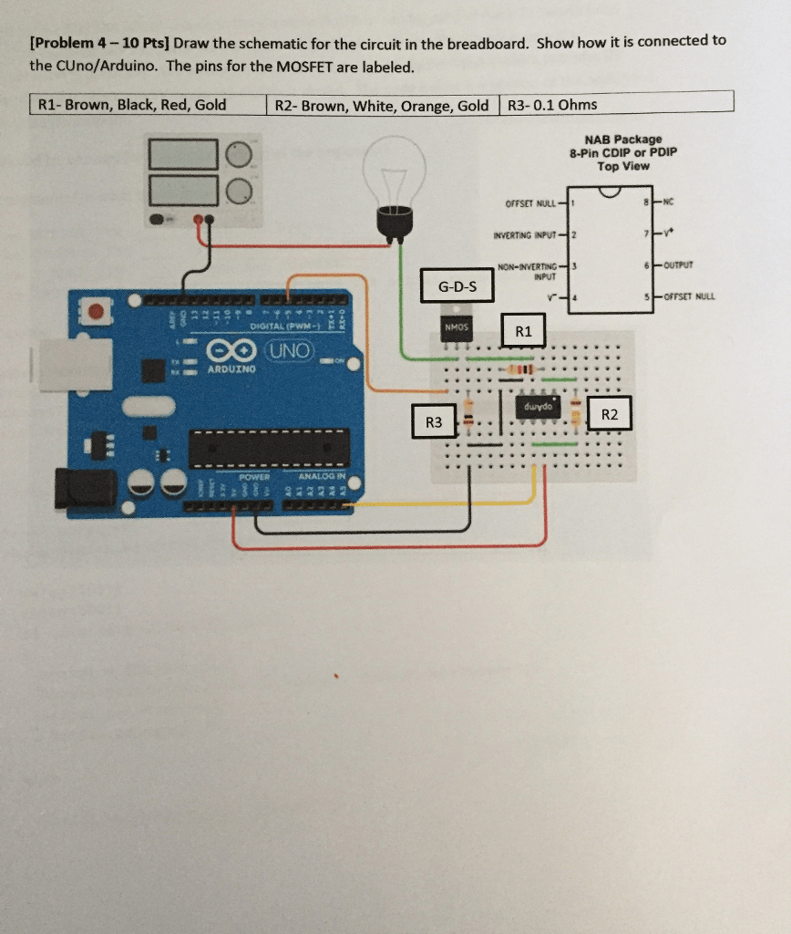 hight resolution of  problem 4 10 pts draw the schematic for the circuit in the breadboard
