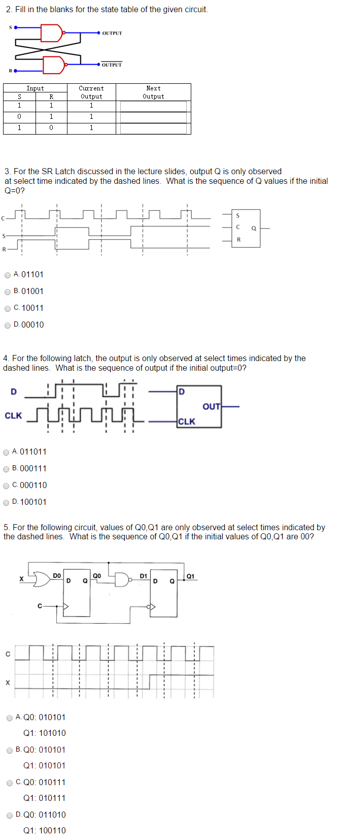 hight resolution of fill in the blanks for the state table of the given circuit output output