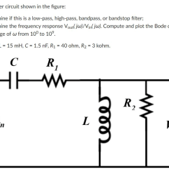 for the filter circuit shown in the figure 1 determine if this is a low [ 1024 x 826 Pixel ]