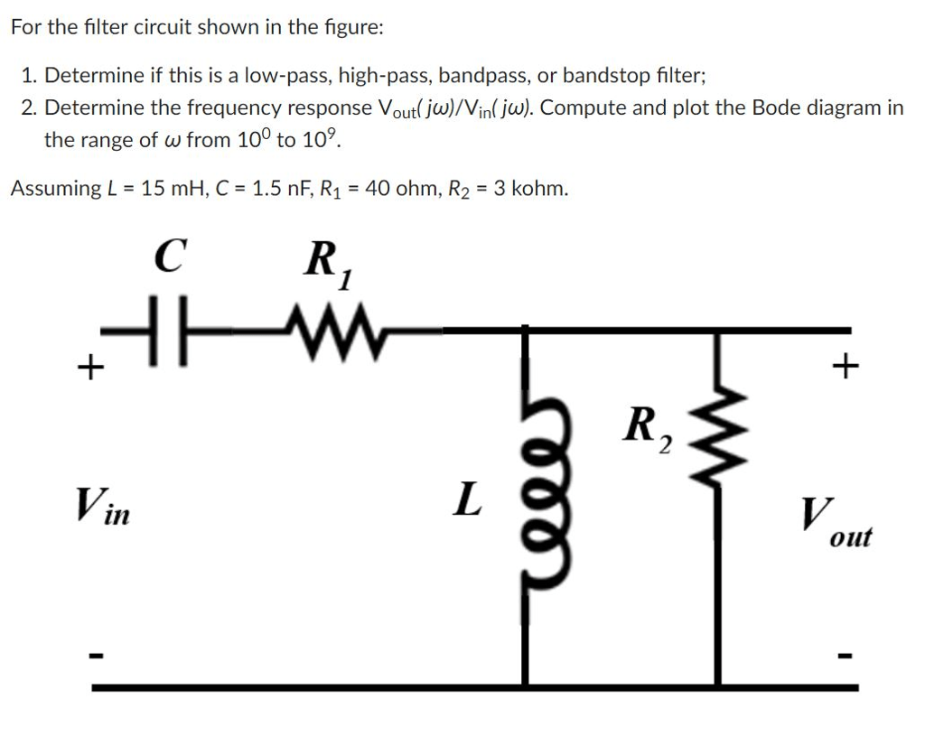 hight resolution of for the filter circuit shown in the figure 1 determine if this is a low