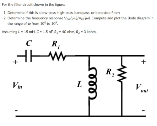 small resolution of for the filter circuit shown in the figure 1 determine if this is a low