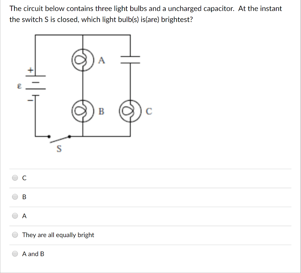 Solved The Circuit Below Contains Three Light Bulbs And A