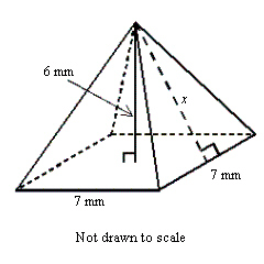 Solved: Find The Slant Height X Of Thr Pyramid Shown , To