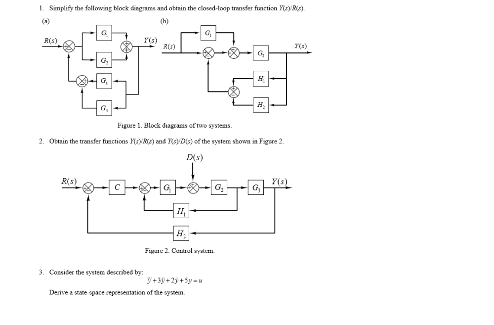 medium resolution of simplify the following block diagrams and obtain t