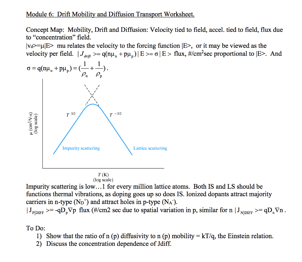 Solved Module 6 Drift Mobility And Diffusion Transport W