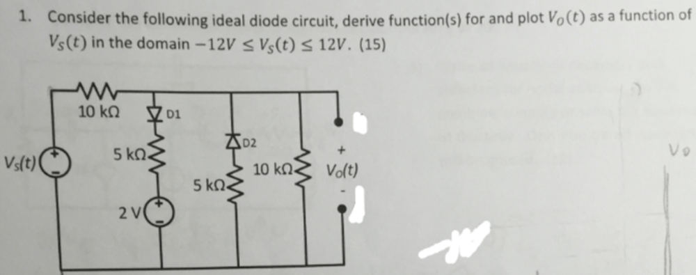 medium resolution of consider the following ideal diode circuit derive function s for and plot vo