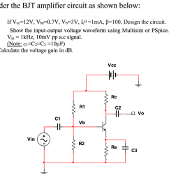 consider the bjt amplifier circuit as shown below  [ 1024 x 836 Pixel ]