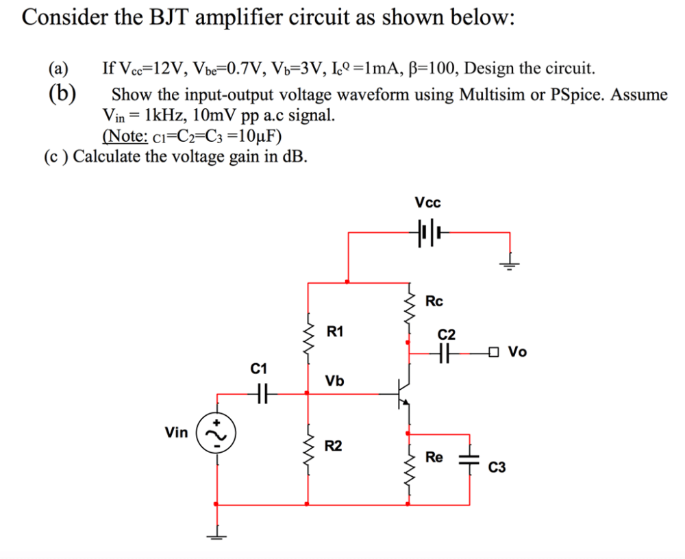 medium resolution of consider the bjt amplifier circuit as shown below