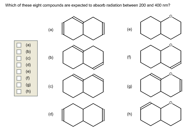 Solved: Which Of These Eight Compounds Are Expected To Abs