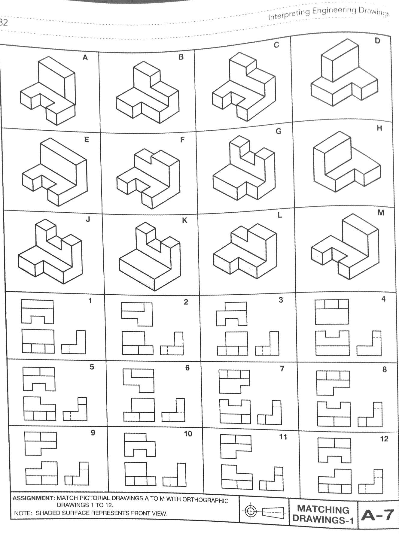 Solved: Match Pictorial Drawing A To M With Orthographic D