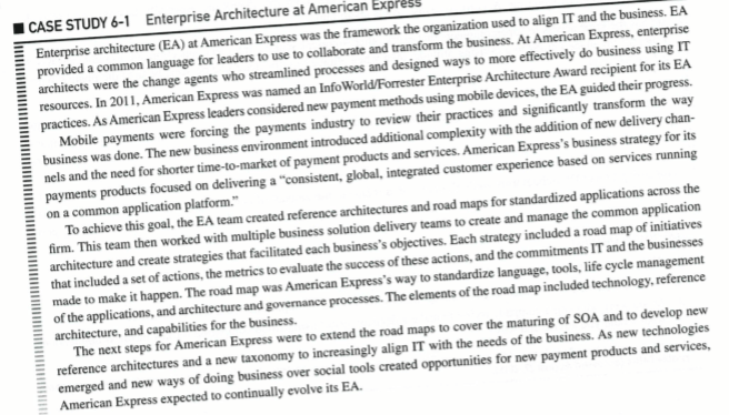 "Solved: Read Case 6-1 ""Enterprise Architecture At American"
