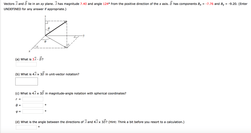 Solved: Vectors A And B Lie In An Xy Plane. A Has Magnitud