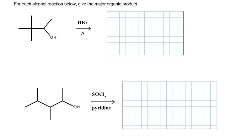 Solved: For Each Alcohol Reaction Below, Give The Major Or