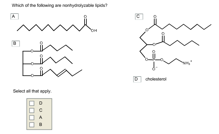 Solved: Which Of The Following Are Nonhydrolyzable Lipids