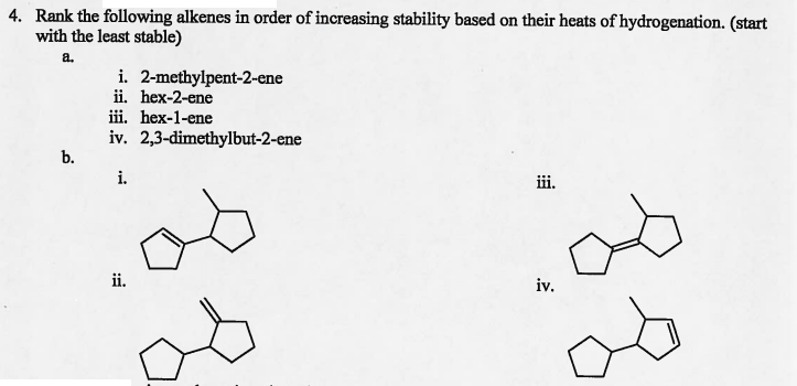 Rank The Following Alkenes In Order Of Increasing