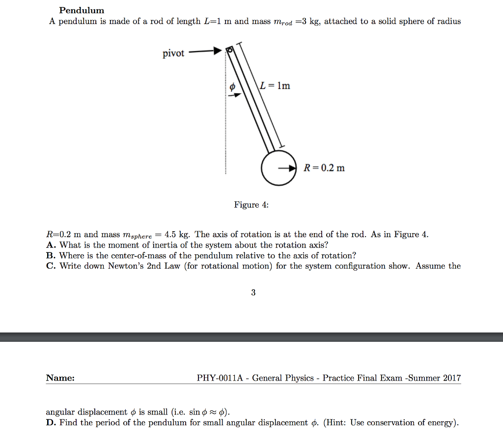 Solved A Pendulum Is Made Of A Rod Of Length L 1 M And Ma