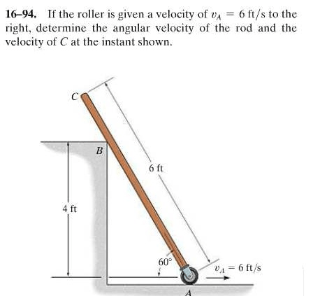 Solved: If The Roller Is Given A Velcoity Of Va=6ft/s To T