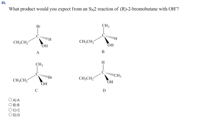 Solved: Which SN2 Reaction Below Would Be The Fastest? Pre