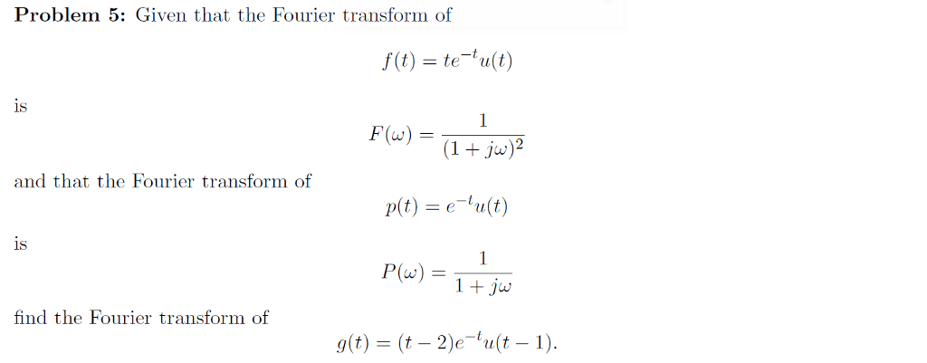 Solved: Given That The Fourier Transform Of F(t) = Te^-t U