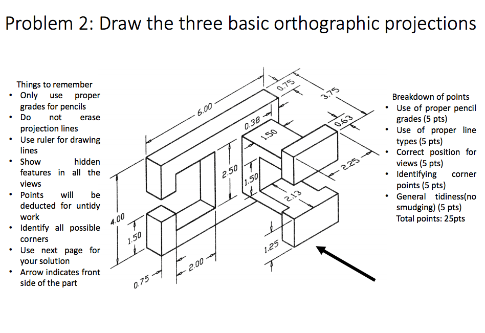 Solved: Draw The Three Basic Orthographic Projections Thin