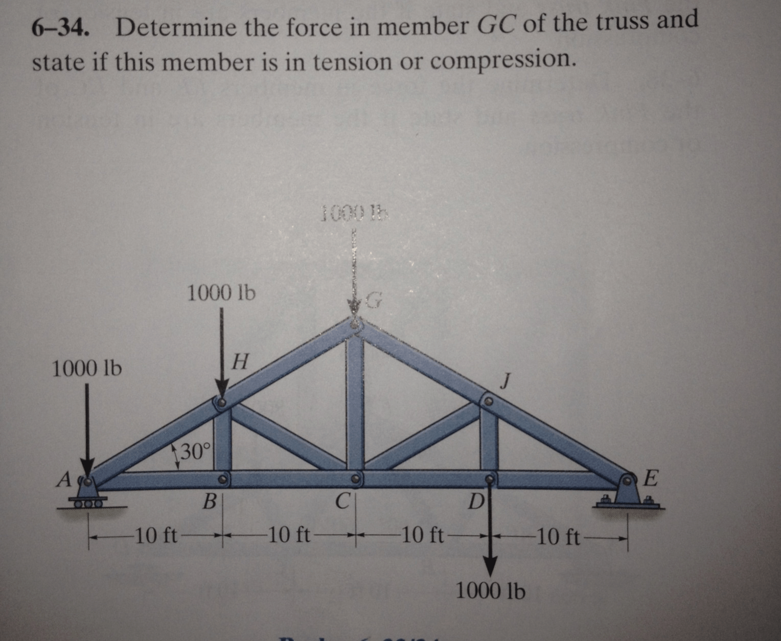 truss tension and compression diagram 2004 chrysler sebring radio wiring solved 6 34 determine the force in member gc of trus