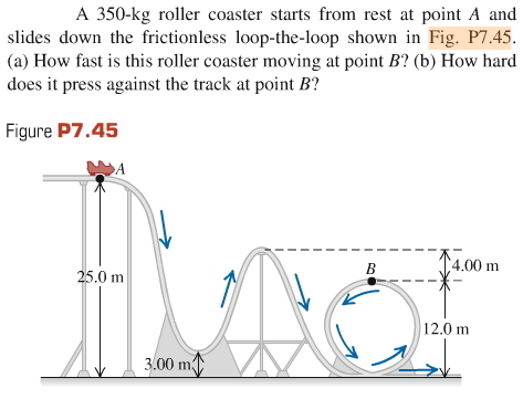 Solved: A 350-kg Roller Coaster Starts From Rest At Point