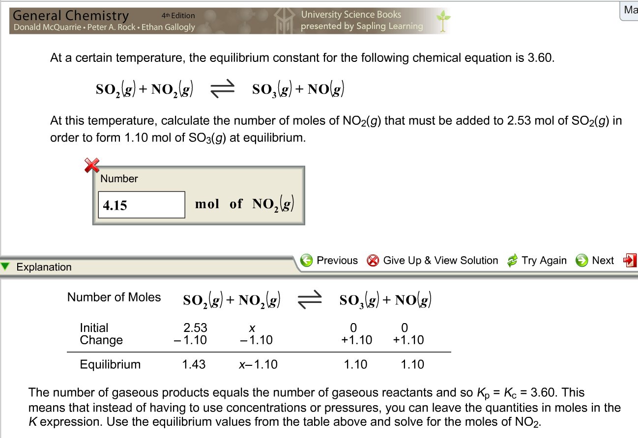 Solved At A Certain Temperature The Equilibrium Constant