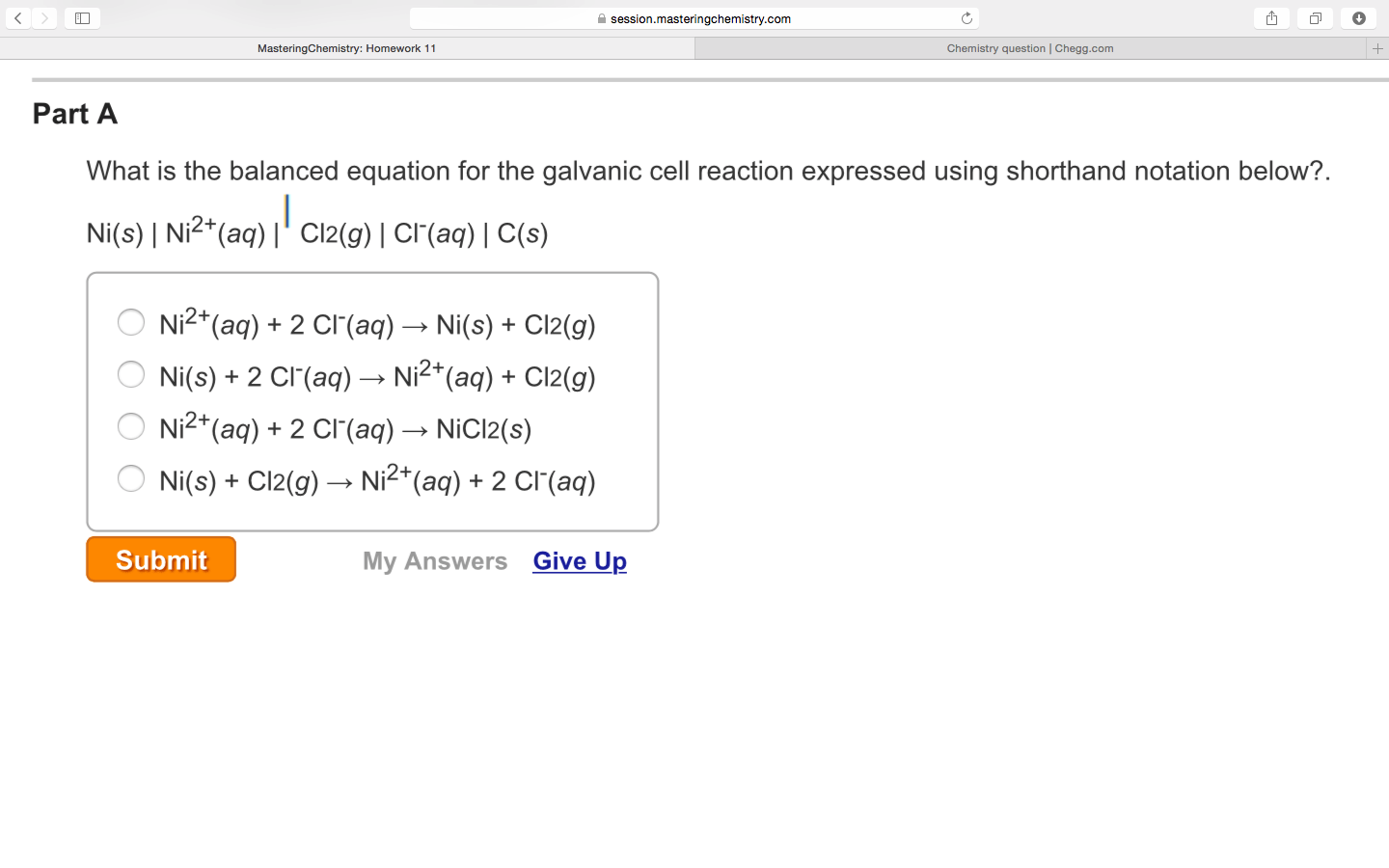 Solved What Is The Balanced Equation For The Galvanic Cel